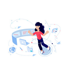 Woman programmer at work process vector
