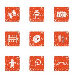 xmas gift icons set grunge style vector image