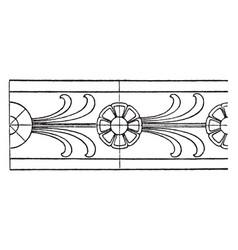 antique rosette band has a double line border vector image vector image