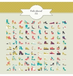 Big beautiful bundle with flat women shoes in vector image vector image