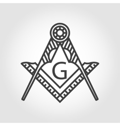 grey masonic freemasonry emblem icon vector image
