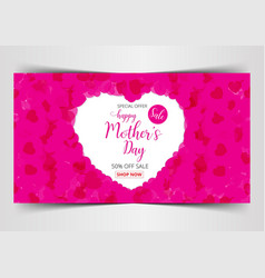 happy mothers day lettering calligraphy on heart vector image vector image