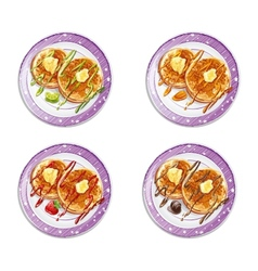 set of pancakes with sauces vector image