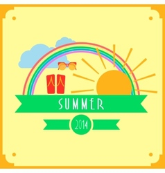 Yellow summer card with sun rainbow clouds vector image vector image