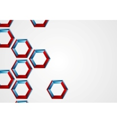 Abstract blue red hexagons corporate background vector image vector image