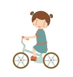 Cute little girl riding a bike vector image