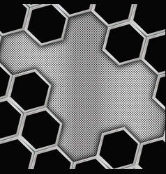 Geometric background with hexagons metal backgroun vector image