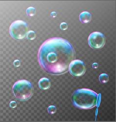 Realistic transparent soap bubbles vector image