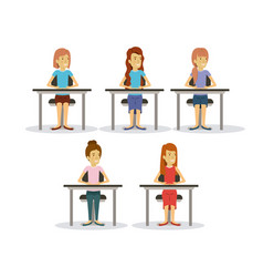 White background set women on desk business people vector