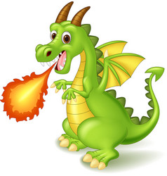 Cartoon dragon posing with fire vector