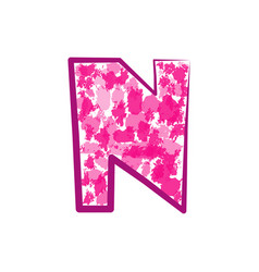 english pink letter n on a white background vector image