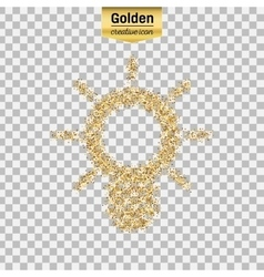 Gold glitter icon of bulb camera isolated vector