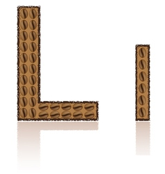 letter l is made grains of coffee isolated on whit vector image