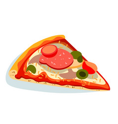 piece of pizza on white background vector image vector image