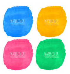 set of four watercolor stain textures vector image