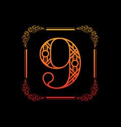 number 9 with ornament vector image