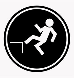 risk of falling from height of human danger sign vector image