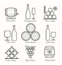 Wine line icons vector image