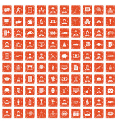 100 career icons set grunge orange vector