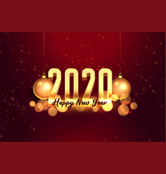 2020 red and gold happy new year celebration vector image
