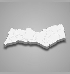 3d isometric map faro is a district portugal vector