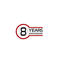 8 years anniversary with circle outline red color vector