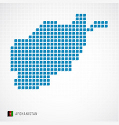 afghanistan map and flag icon vector image