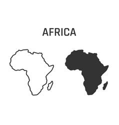 Africa map icon outline and silhouette vector
