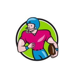 American Football Receiver Running Circle Cartoon vector