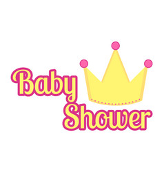 Baby shower label with a crown vector