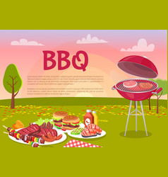 Bbq beef roasting meat poster vector