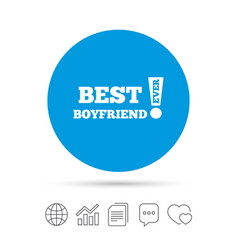 Best boyfriend ever sign icon award symbol vector