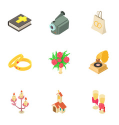 Betrothal icons set isometric style vector