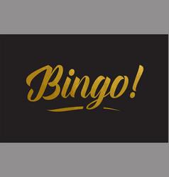 bingo gold word text typography vector image