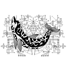 Black and white dolphin against sacred geometry vector