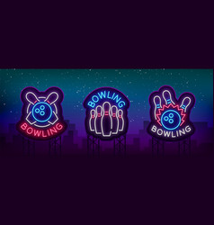 bowling is collection of neon signs collection vector image