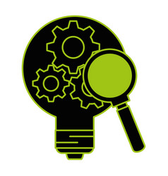 Bulb light idea with gears and magnifying vector