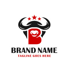 bull head logo design vector image