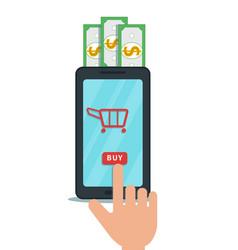 Business concept online shopping hand finger vector