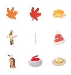 Canada icons set cartoon style vector