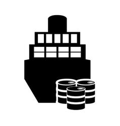 Cargo ship and oil barrels icon vector