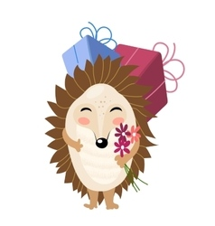 cartoon hedgehog with gifts and flowers vector image