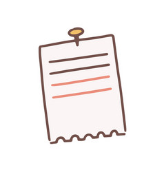 Cartoon lined note paper attached with drawing pin vector