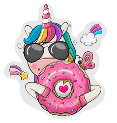 cartoon unicorn with donut on a white background vector image