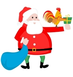 Christmas Santa and cock vector image