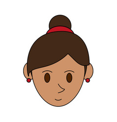 colorful image cartoon face woman with collected vector image