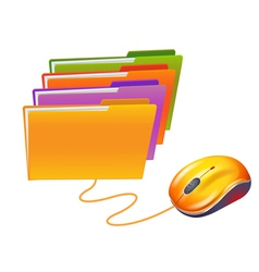 computer mouse and folders vector image