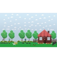Country house planting vegetables concept vector image