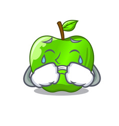 crying perfect fresh green apple on cartoon vector image