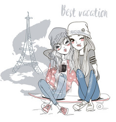 Cute cartoon girls vector